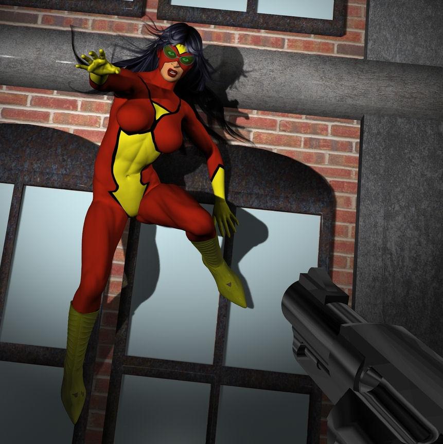 Spiderwoman in trouble