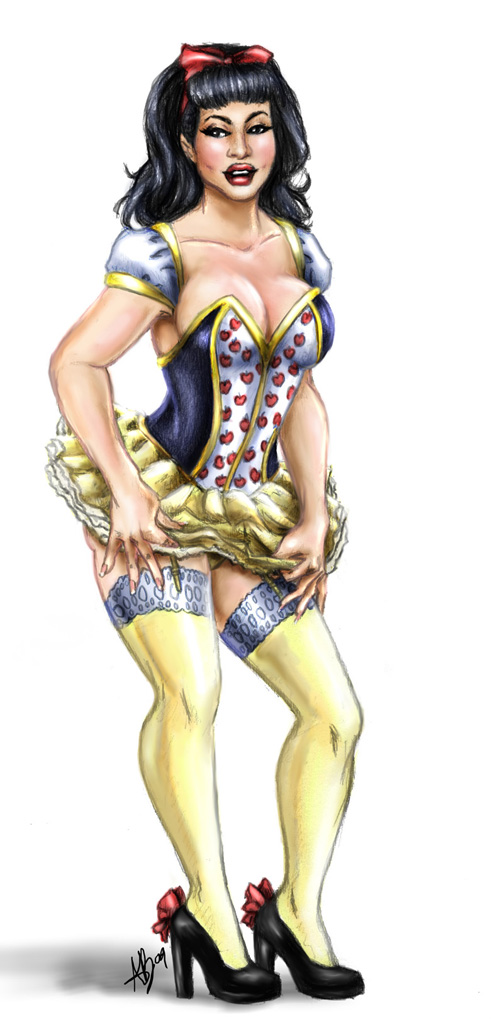 Snow White Pin-Up Sketch Color