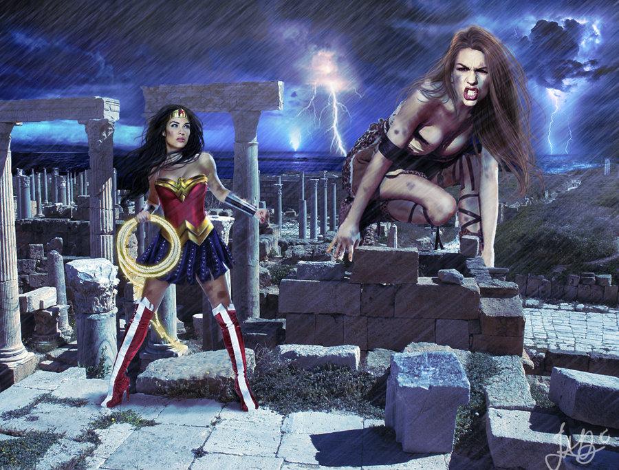 WonderWomans fight with Giaganta
