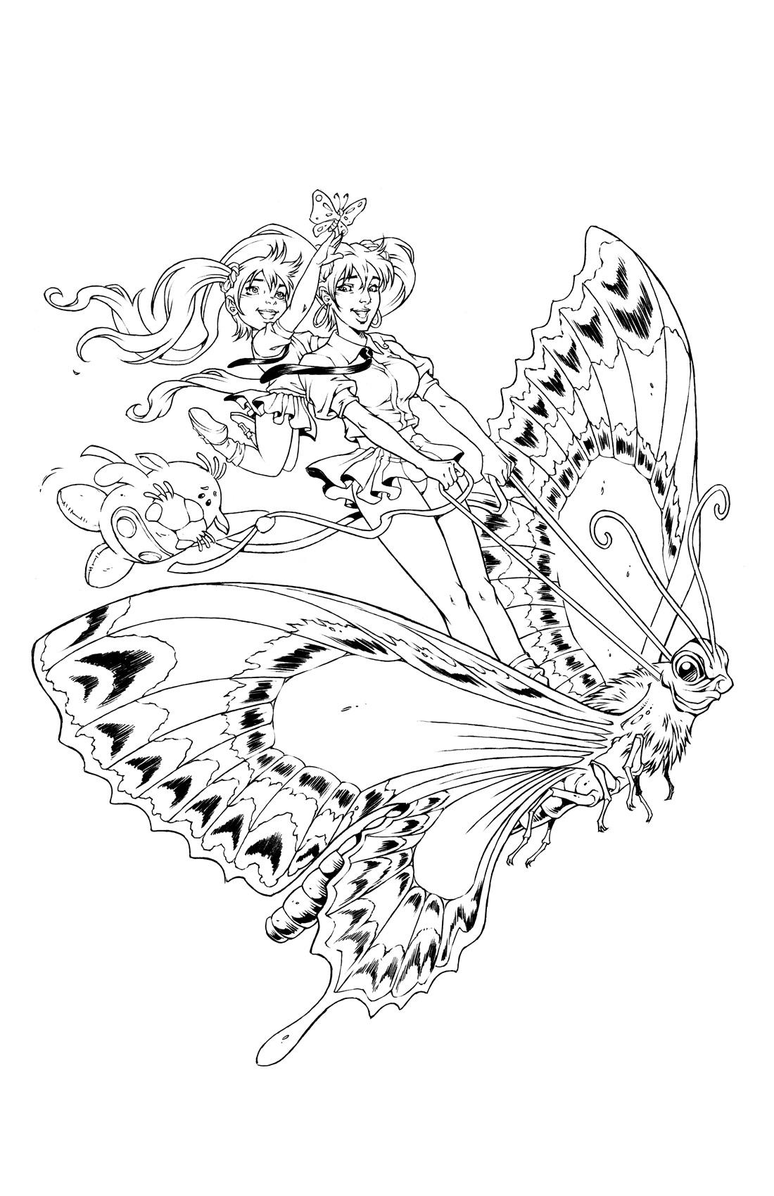 BANZAI GIRL:  BEAUTIFUL BUTTERFLY! by Jinky Coronado (Line Art)