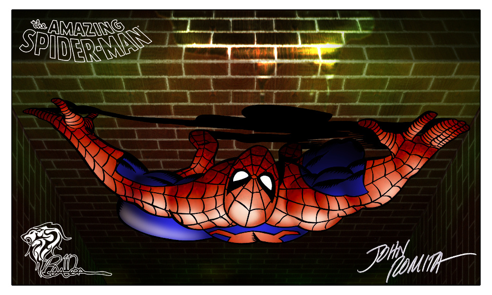 Itsy Bitsy Spider Climbed Up The Water Spout [Original Art: John Romita] Colored