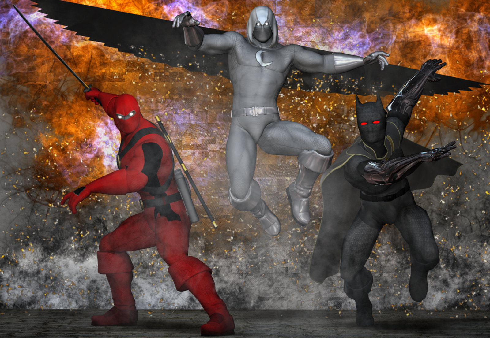 Deadpool, MoonKnight, BlackPanther