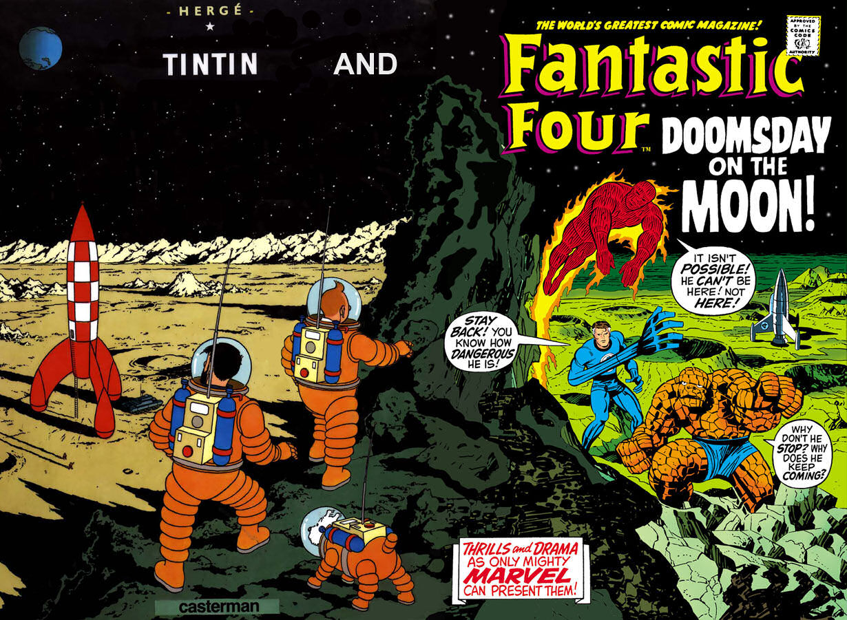 What if Fantastic Four and Tintin meets on the moon ?