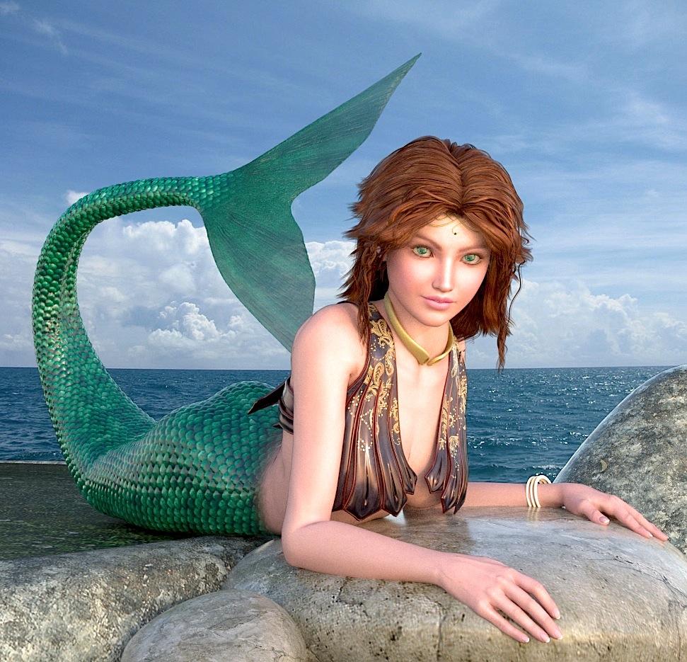 Mermaid Sunning on Rocks