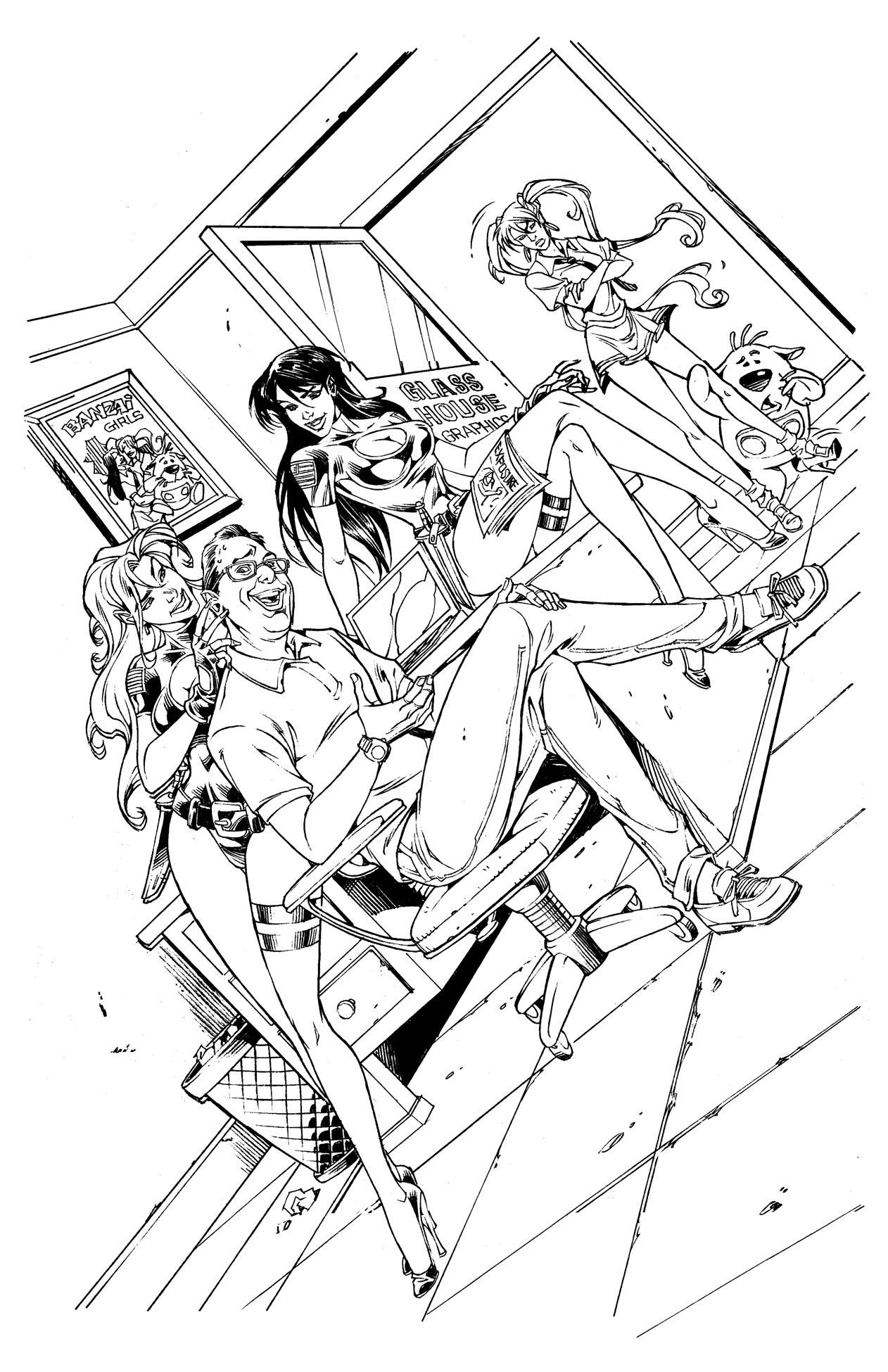 EXPOSURE & BANZAI GIRL: WHO'S THEIR DADDY? Line Art by Jinky Coronado