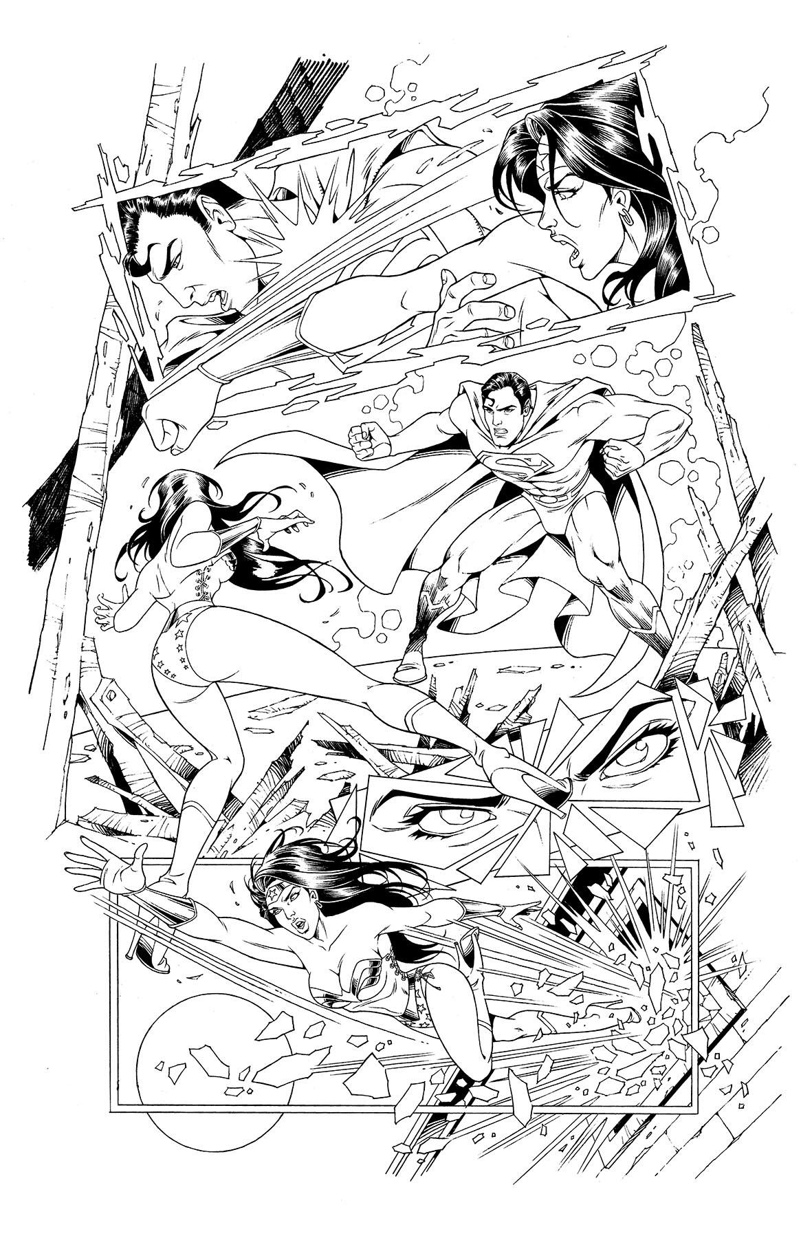 WONDER WOMAN (Page 4) line art by Jinky Coronado