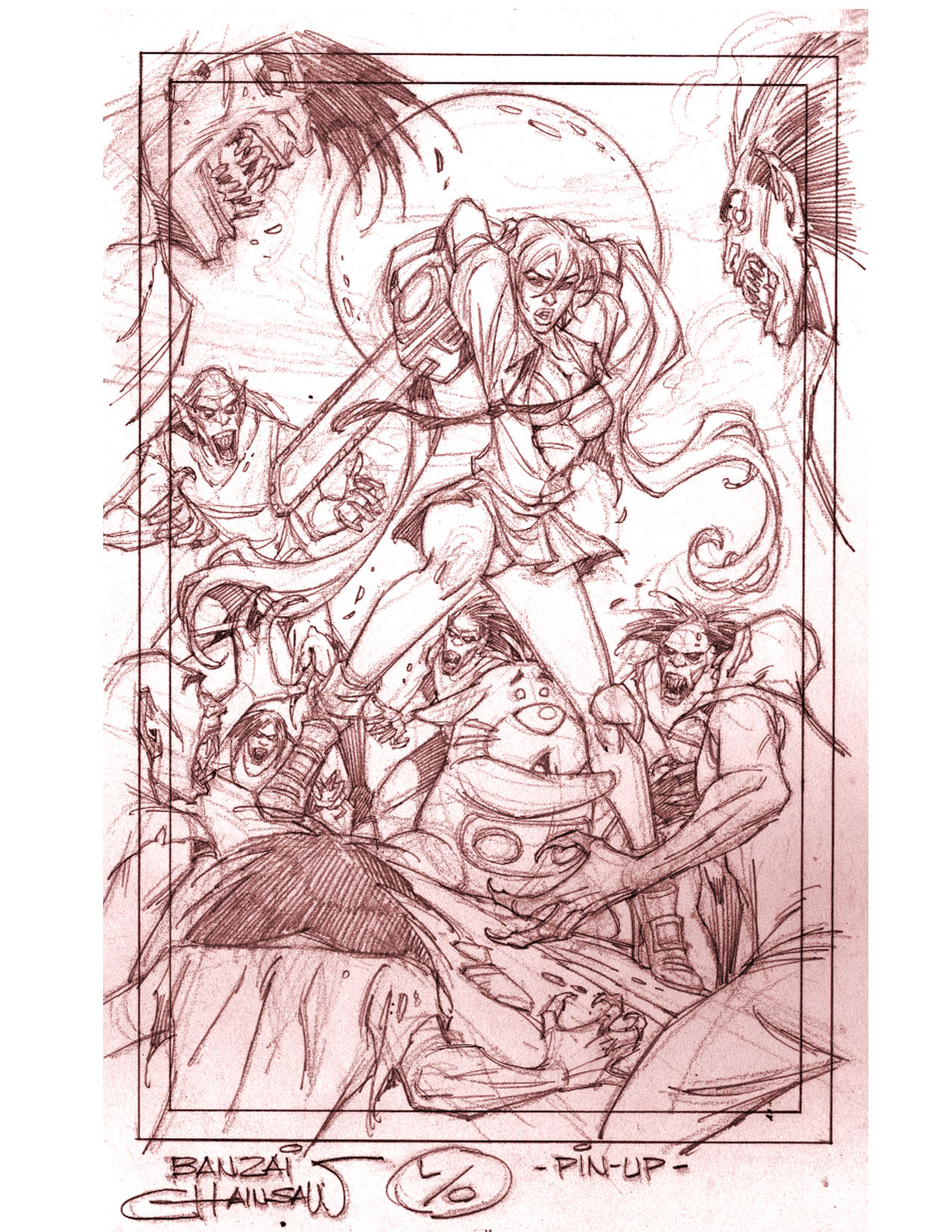 BANZAI GIRL: CHAINSAW CHALLENGE! Pencils