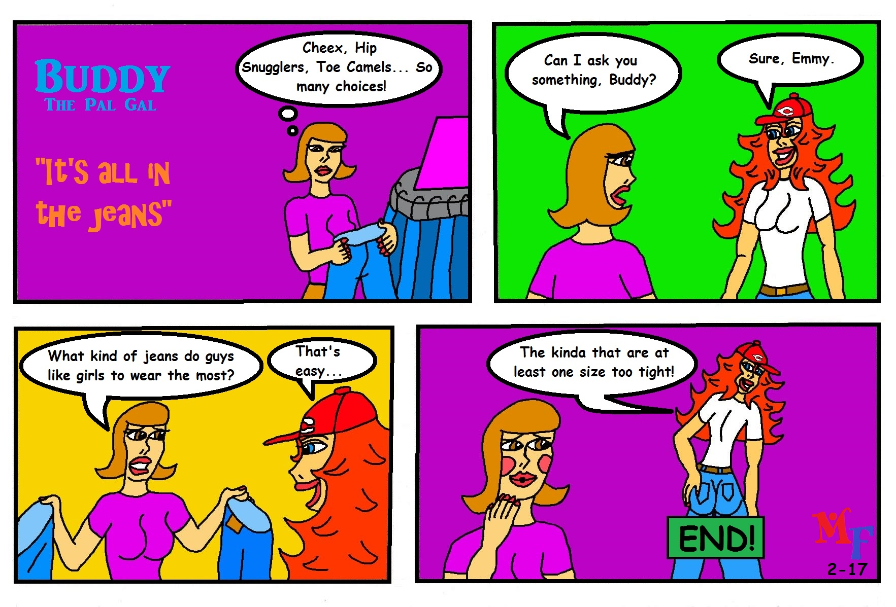 "Buddy comic ""It's all in the jeans!"""