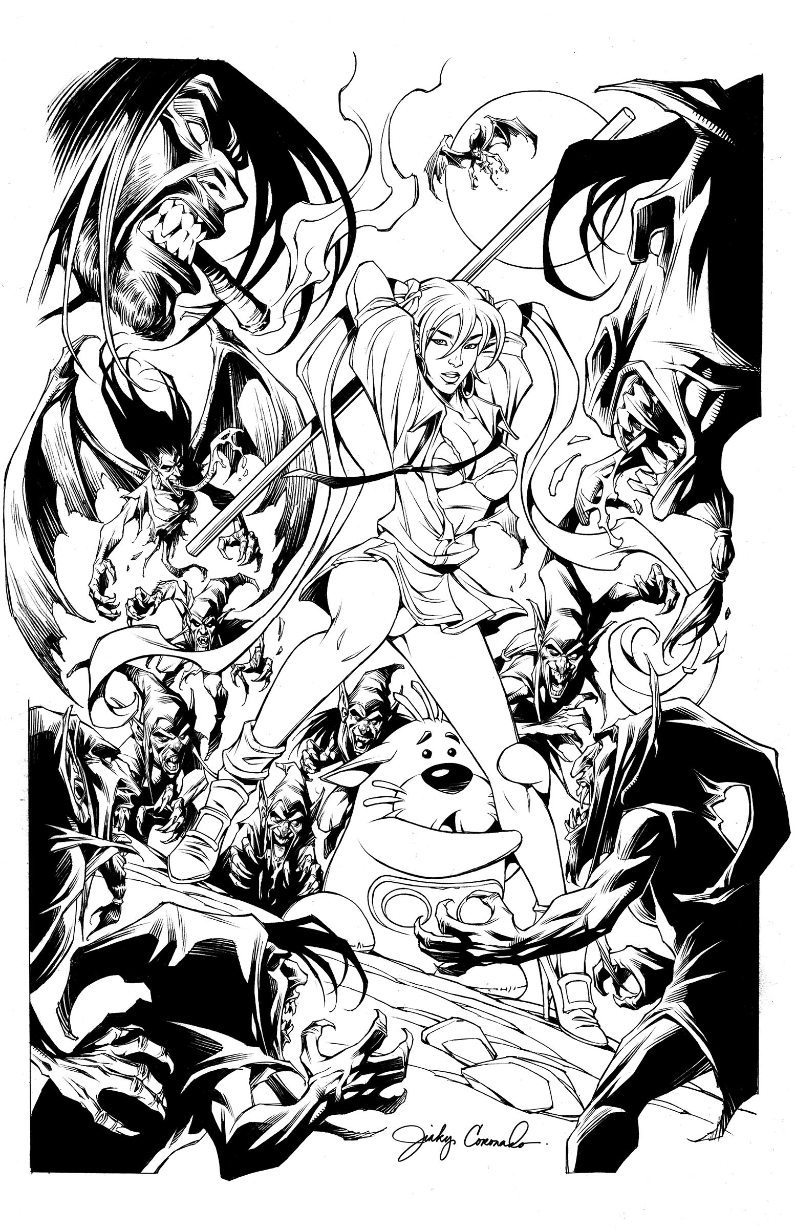 BANZAI GIRL: NIGHT OF THE MYTHMAKERS!  Line art by Jinky Coronado