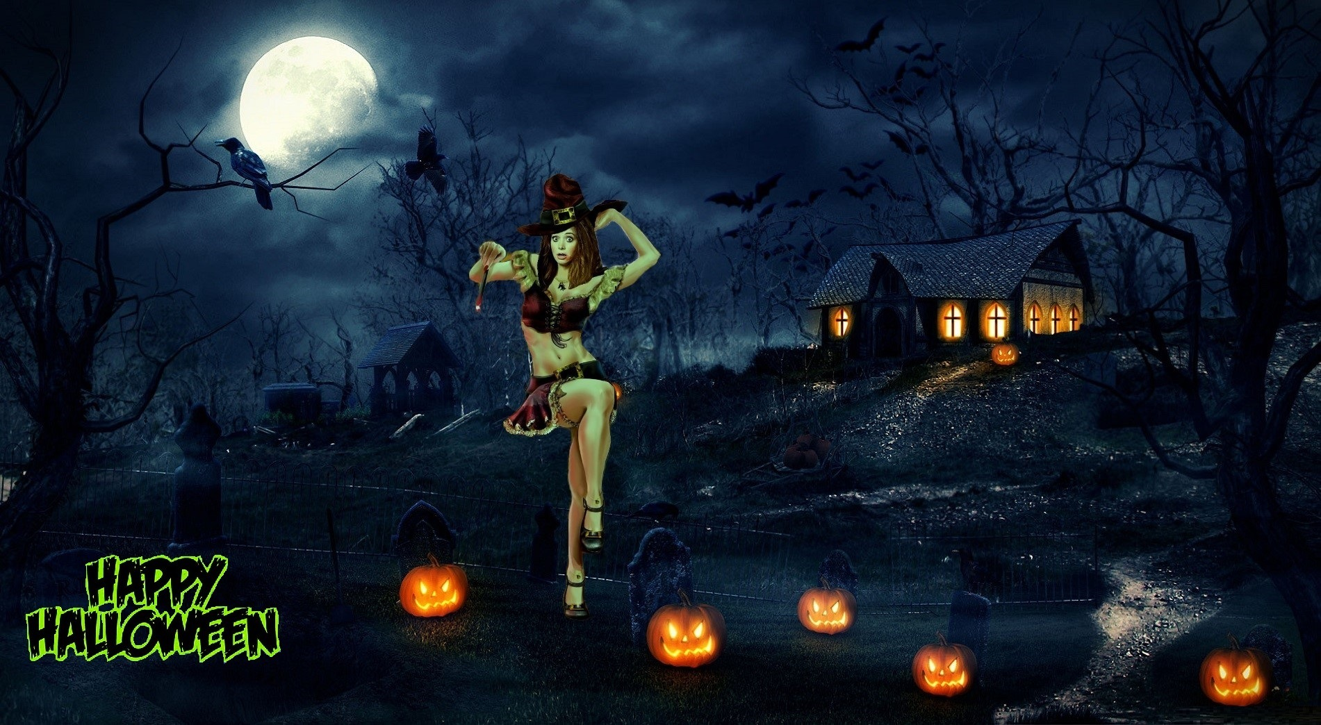 Happy Halloween Witchy Woman Her House & Yard on the Hill
