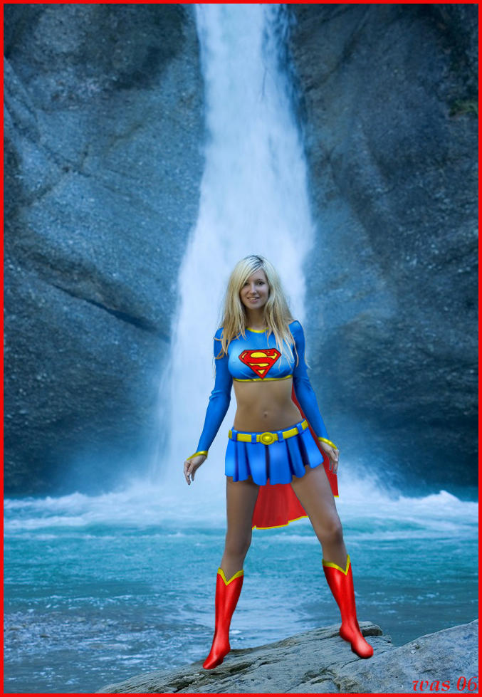 Supergirl at the Waterfall