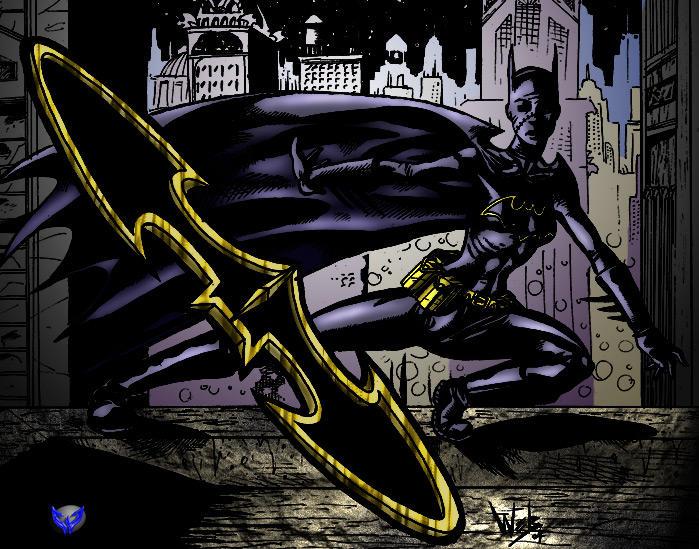 Batgirl bataranging by Thanatos Coloured by Winterhawk