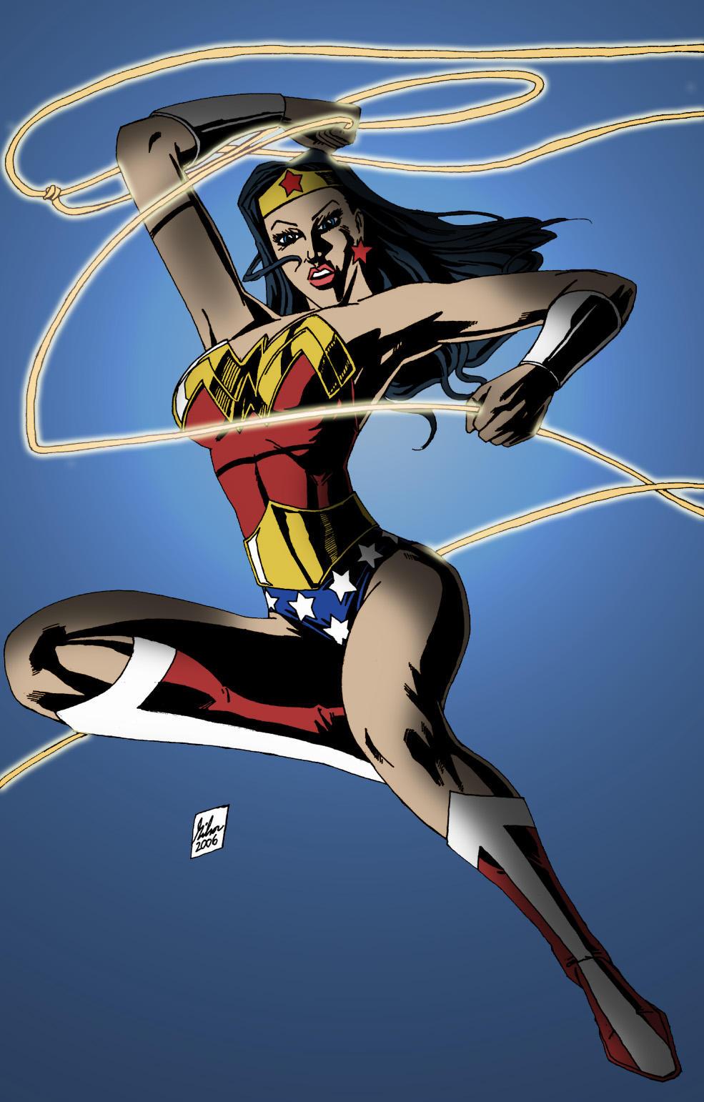 Wonder Woman lassoing