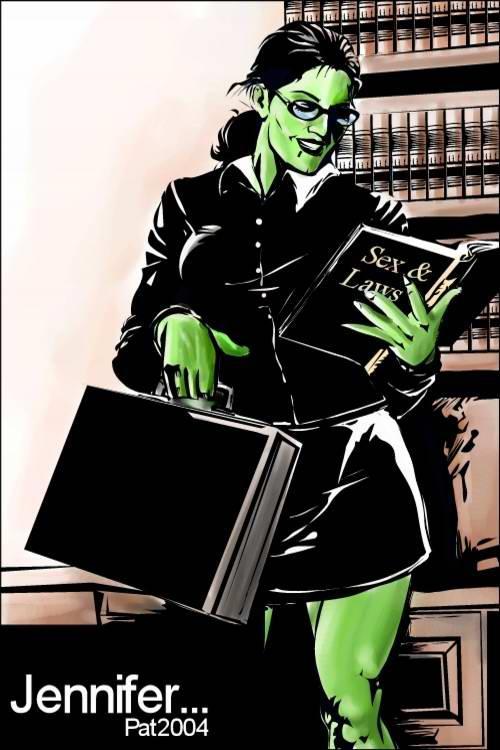 She hulk at work