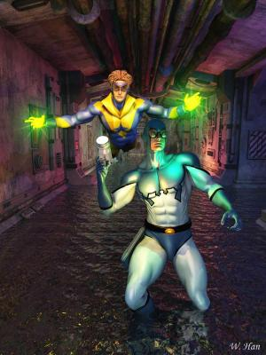 Blue Beetle and Booster Gold in the tunnel