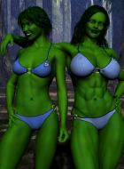 Winterhawk's She Hulk and my own version.