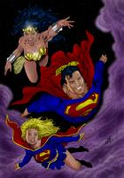 Superman, Supergirl, and Wonder Woman by Al Rio