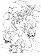 BANZAI GIRL:  VAMPI! Line Art by Jinky Coronado