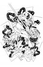 BANZAI GIRL:  Triple Play (line art) by Jinky Coronado