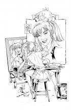 BANZAI GIRL: SELF-PORTRAIT IN THREES! (Line Art) by Jinky Coronado