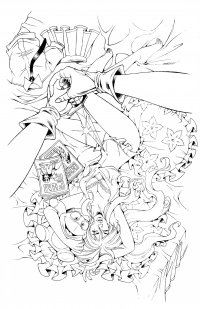 BANZAI GIRL:  PINK ATTACK! Line art by Jinky Coronado