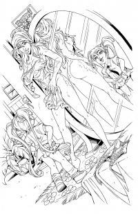 BANZAI GIRL: SURPRISE GUEST! 2.0 (line art) by Jinky Coronado