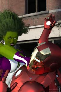She-Hulk Slugs Iron Man