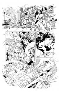 WONDER WOMAN Page 1 (line art) by Jinky Coronado