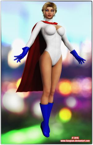Power Girl floating