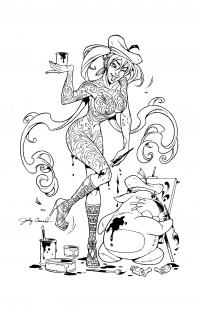 BANZAI GIRL: MANDALA MODEL!  Line art by Jinky Coronado