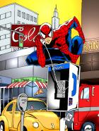Spider-Man on pay phone